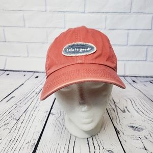 Life is good distressed wash red pink relaxed hat